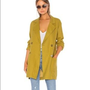 LPA linen green double breasted jacket size Med